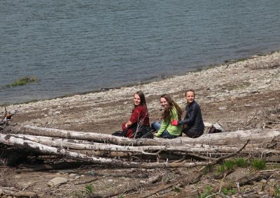 Anna, Lisa, & Cassidy on the shore of Three Isle Lake.