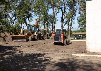 Preparing a new concrete pad.